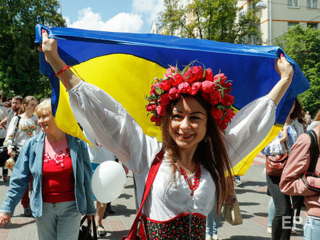 На Софийской площади в Киеве торжественно подняли государственный флаг Украины