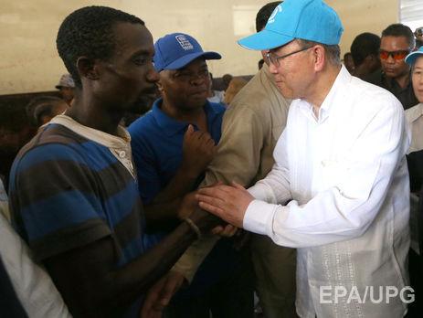 Пан ГиМун наГаити призывает кпомощи стране, пострадавшей отурагана