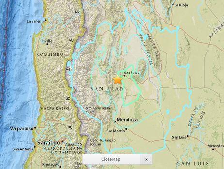 Землетрясение магнитудой 6,4 случилось вАргентине