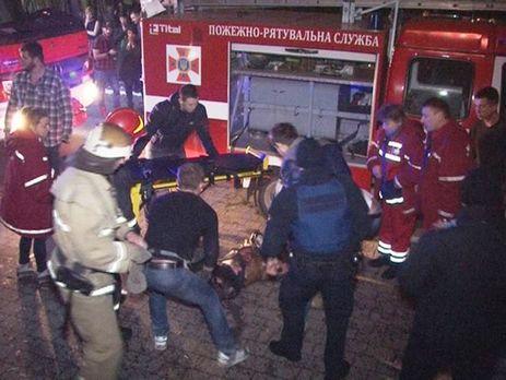В результате пожара госпитализировано 14 человек