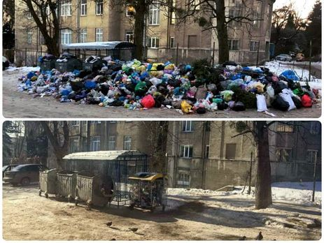 Совсех районов Львова одновременно начали вывозить сор