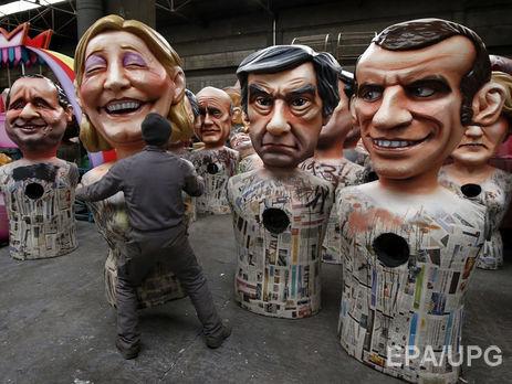 Расклад втреугольнике Фийон-Ле Пен-Макрон— Выборы президента Франции