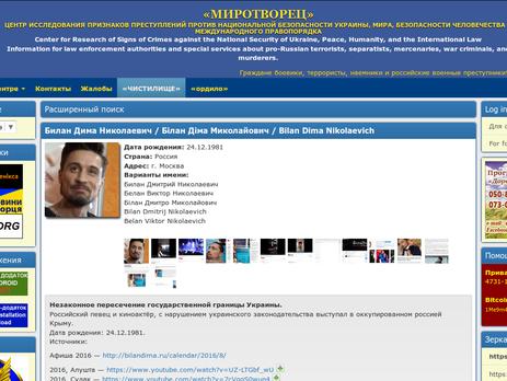 Солист Дима Билан внесен вбазу сайта «Миротворец» завыступления вКрыму