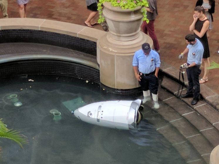 Робот-охранник изторгового центра вВашингтоне утопился вфонтане
