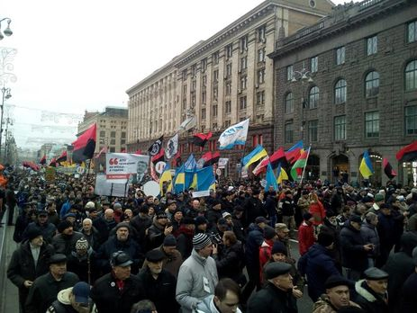 Саакашвили вывел приверженцев наакцию заимпичмент вцентр украинской столицы