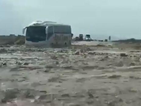 Полиция Израиля эвакуировала около 50 украинцев, автобус которых из-за наводнения застрял в районе Мертвого моря