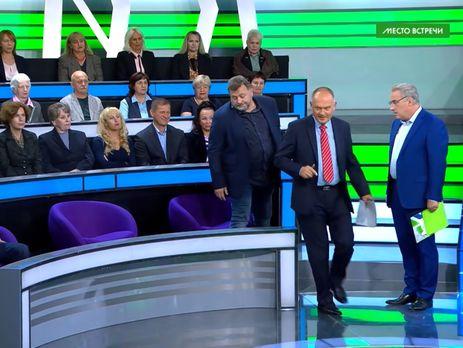 Норкін (праворуч) вимагав вимкнути мікрофон українському експерту
