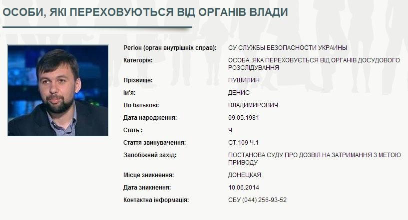 Датой исчезновения Дениса Пушилина считается 10 июня 2014 года. Скриншот сайта mvs.gov.ua
