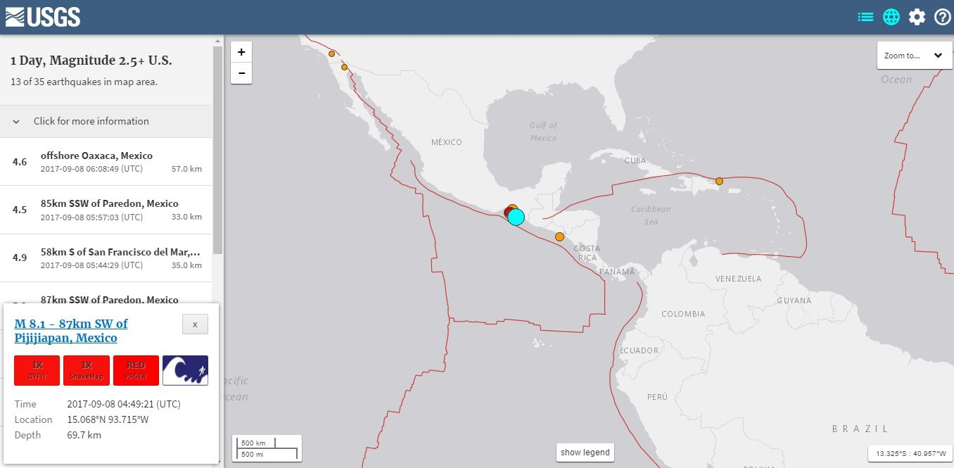 Скриншот: earthquake.usgs.gov