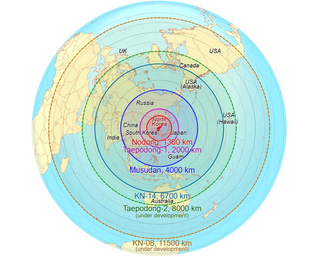 """Дальность северокорейских баллистических ракет. По неподтвержденным данным, """"Хвасон-15"""" превосходит по характеристикам """"Хвасон-13"""" (KN-08). Фото: wikimedia.org"""