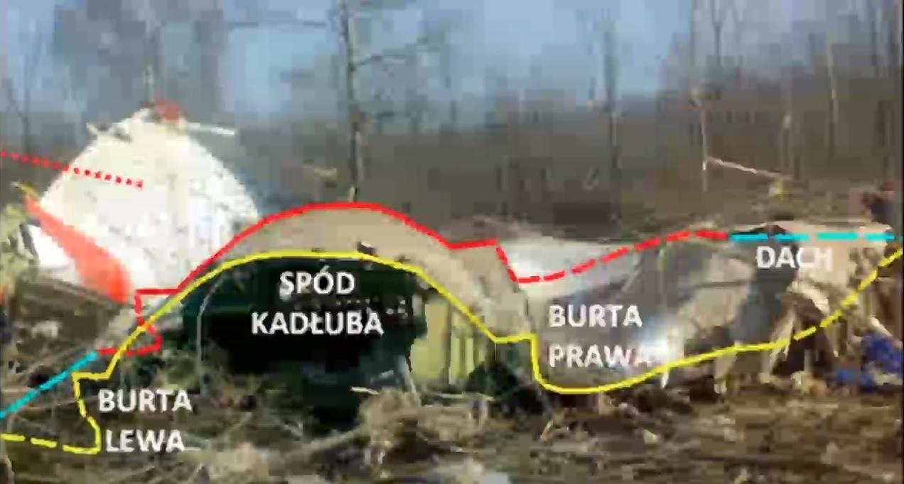 Обломки самолета после падения на землю. Скриншот: podkomisjasmolensk.mon.gov.pl