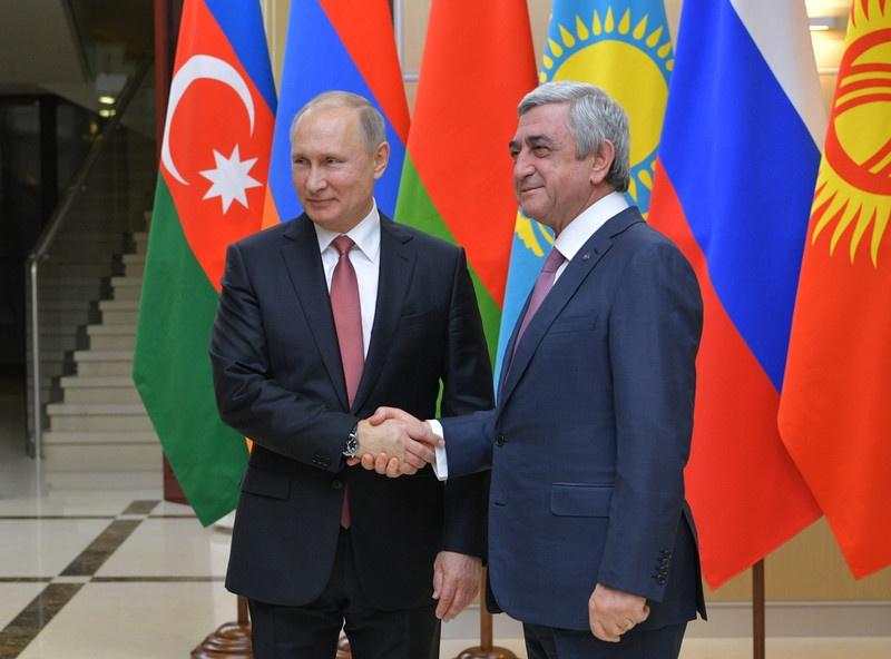 Путин и Саргсян на саммите СНГ в Подмосковье в декабре 2017 года. Фото: ЕРА
