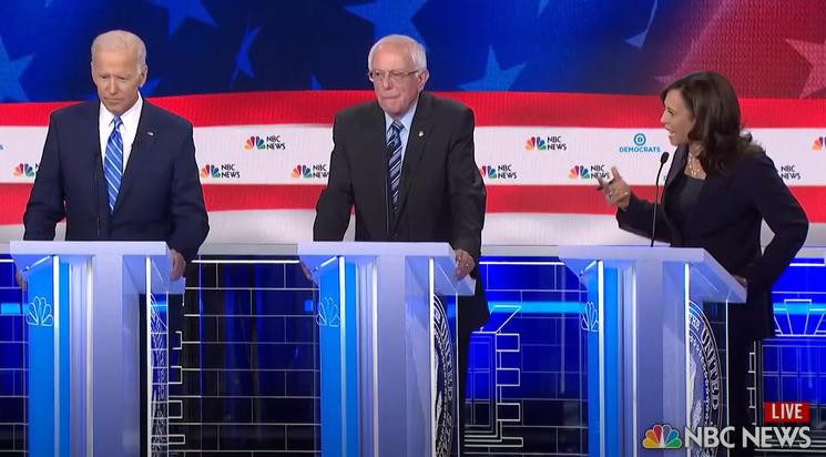 На дебатах Харрис критиковала Байдена. Скриншот: CNBC Television / YouTube