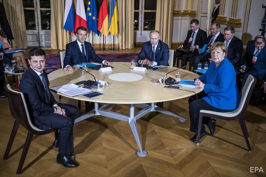 """Встреча глав государств """"Нормандской четверки"""" прошла в Париже 9 декабря 2019 года. Фото: EPA"""
