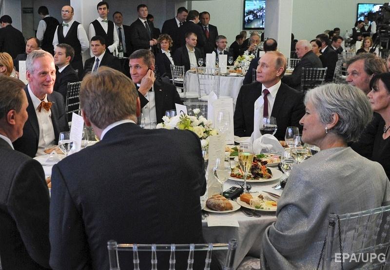 Путин и Флинн на праздновании 10-летия телеканала RT