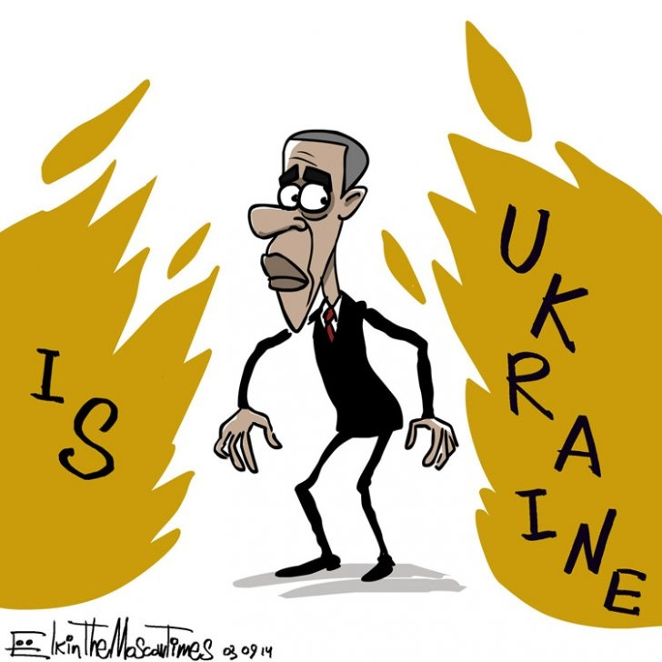 Обама между двух огней. Карикатура: themoscowtimes.com
