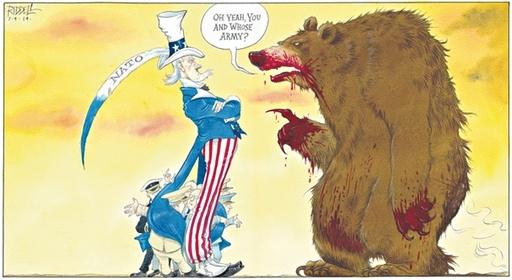 Карикатуристы все чаще изображают российскую сторону в виде громадного несмышленого, но грозного медведя. Карикатура: theguardian.com