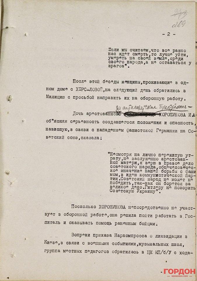 Документ из архива СБУ, где упоминается Хорошунова