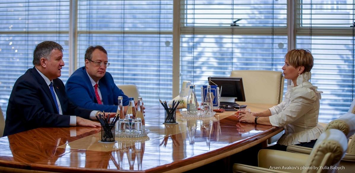 Ирина Каминская на встрече с министром внутренних дел Арсеном Аваковым и его заместителем Антоном Геращенко