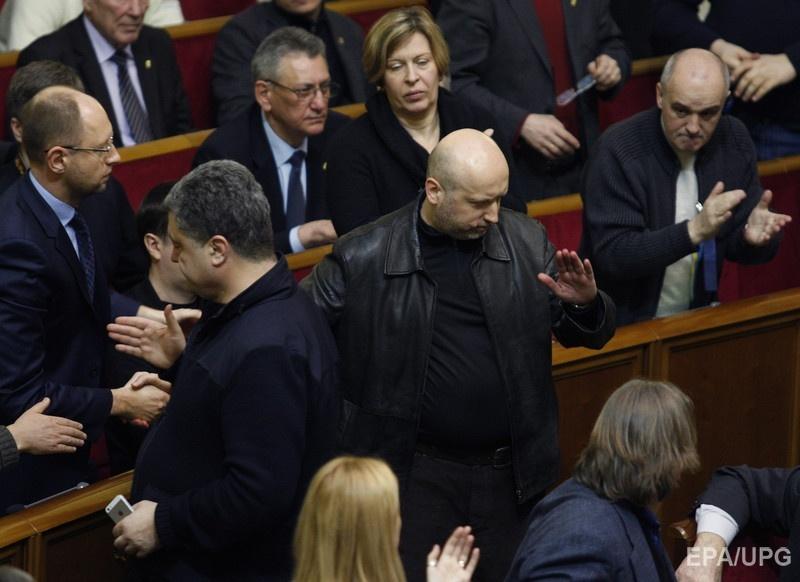 Недавно избранный спикер парламента Александр Турчинов выступает во время заседания Верховной Рады Украины в Киеве, Украина, 22 февраля 2014 года