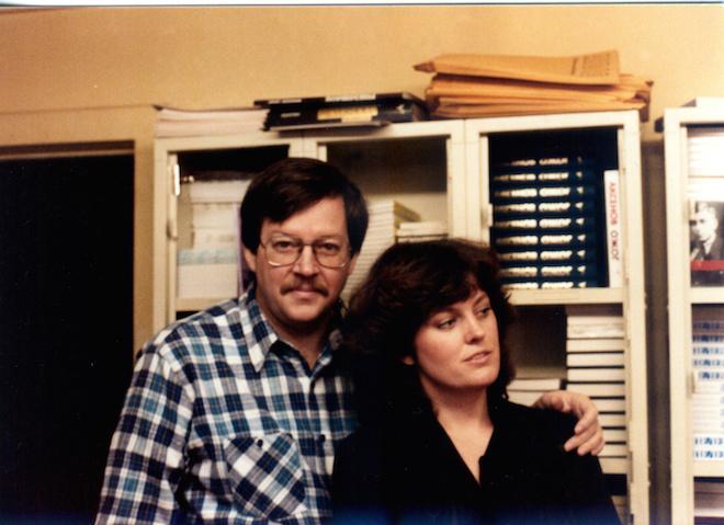 "Карл и Эллендея в ""Ардисе"", в комнате для упаковки книг. 1979 год. Фото: corpus.ru"