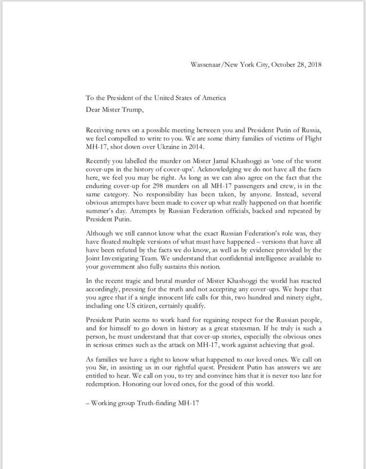 Семьи погибших вкатастрофе MH17 написали Трампу письмо