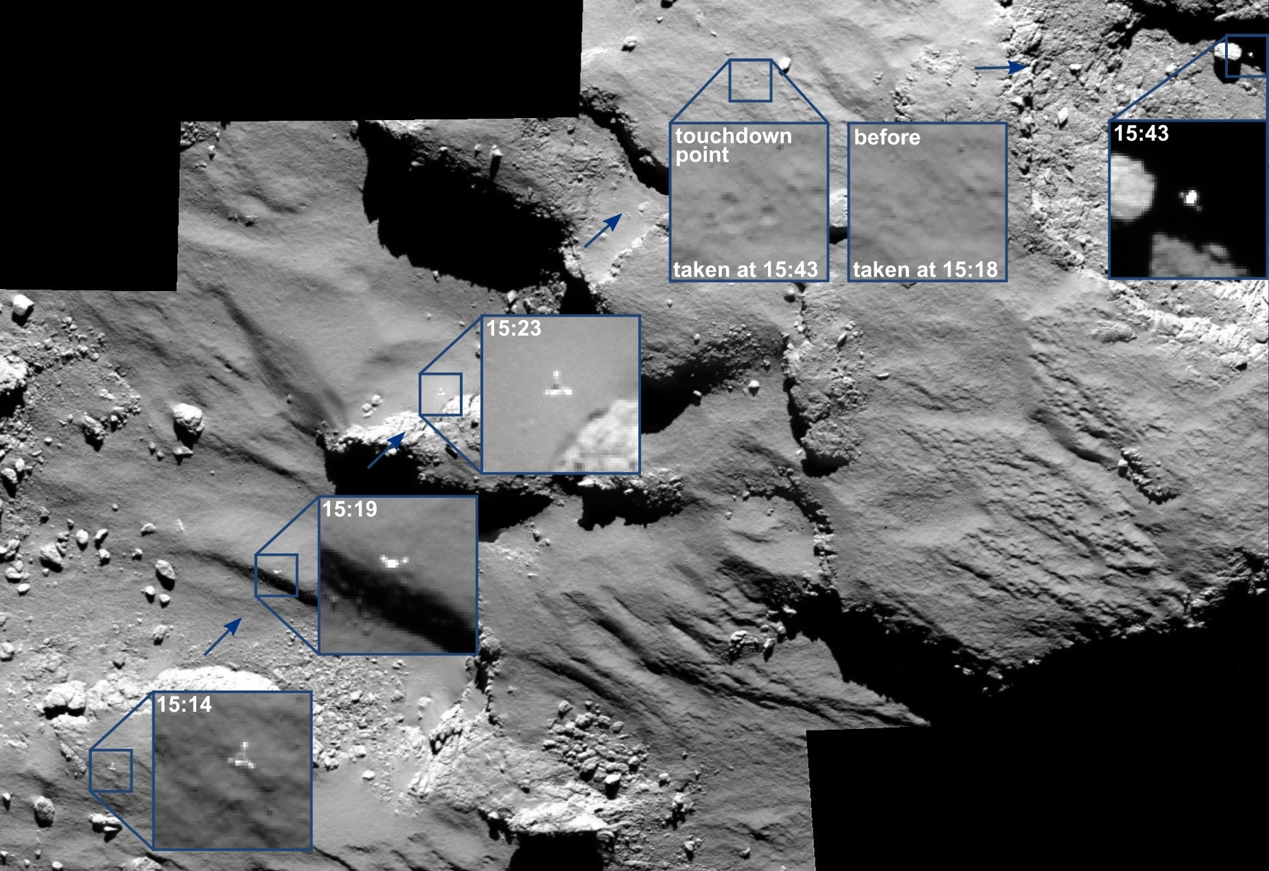 "Посадка модуля ""Филы"". Снимок в высоком разрешении доступен по ссылке. Фото: ESA/Rosetta/MPS for OSIRIS // esa.int"