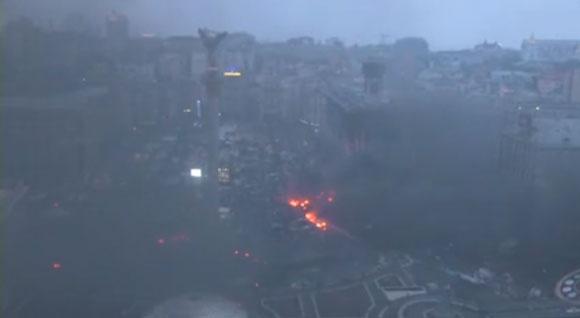 Майдан утром. Фото: скриншот трансляции